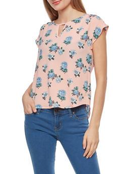 Floral Crepe Knit Top - 1001058759989