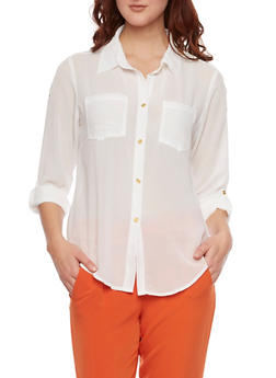 Button Up Blouse with Zipper Shoulders - 1001067330115