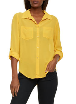 Button Up Blouse with Zipper Shoulders - MUSTARD - 1001067330115