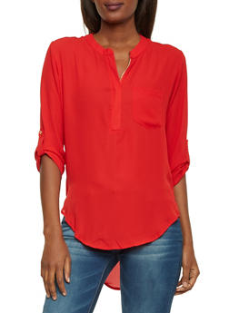 Mandarin Collar Top with High Low Hem - 1001067330118
