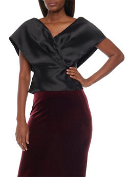 Satin Wrap Top with V Neck - 1001067330119