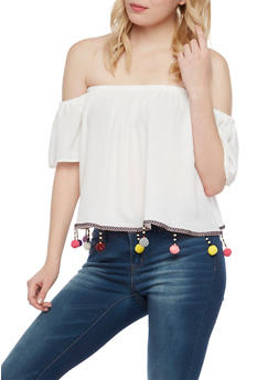 Off The Shoulder Top with Pom Pom Trim - 1001067330186