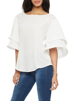 Tiered Funnel Sleeve Top - WHITE - 1001067330462