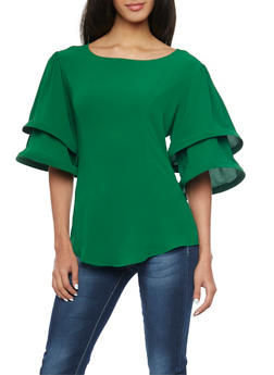 Tiered Funnel Sleeve Top - 1001067330462