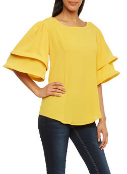 Tiered Funnel Sleeve Top - MUSTARD - 1001067330462