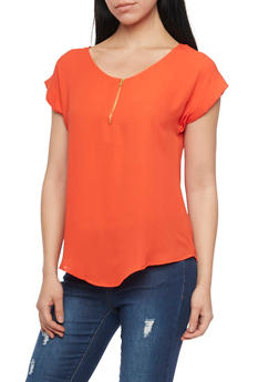 Chiffon Top with Zip Scoop Neck - 1001067330720