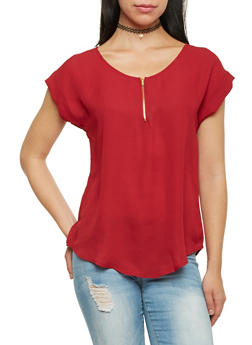 Chiffon Top with Zip Scoop Neck - BURGUNDY - 1001067330720