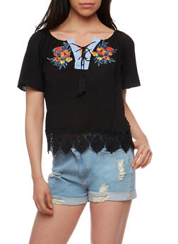 Embroidered Lace Up Top with Crochet Hem - 1001067332734