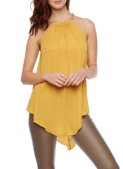 Chain Neck Tank Top with Back Keyhole Cutout - 1001067333201