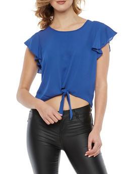 Crepe Knit Tie Front Crop Top - 1001074290133