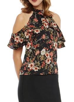 Floral Cold Shoulder Top - 1001074290134
