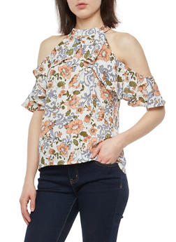 Floral Ruffle Cold Shoulder Top - 1001074290135
