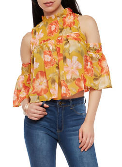 Floral Smocked Cold Shoulder Top - 1001074290160
