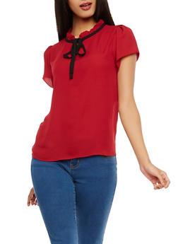 Short Sleeve Ruffle Neck Blouse - 1001074290454
