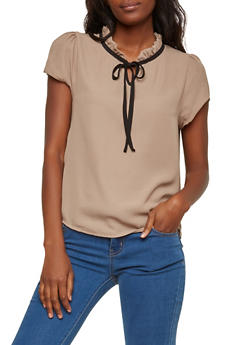 Short Sleeve Ruffle Neck Blouse - 1001074290454