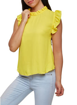 Ruffled Tie Neck Blouse - 1001074290455