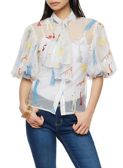 Paris Embroidered Mesh Button Front Top - 1001074290708