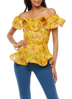 Floral Wired Hem Off the Shoulder Top - 1001074290719