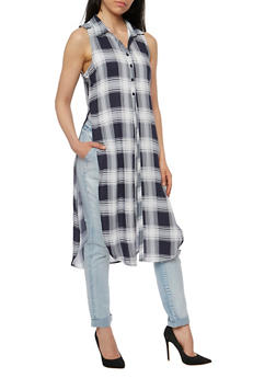 Plaid Pattern Front Button Maxi Top - 1002038348650