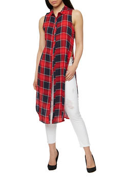 Plaid Pattern Front Button Maxi Top - NAVY/RED - 1002038348650