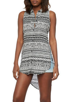 Sleeveless High Low Top with Print Pattern and Side Slits - WHT-BLK - 1002038348656