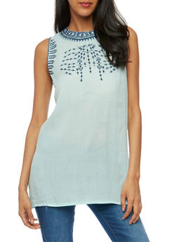 Sleeveless Embroidered Gauze Knit Top - 1002038348666