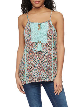 Printed Spaghetti Strap Tank Top with Crochet and Tassel Detail - 1002038348667