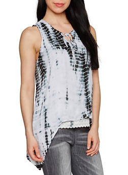 Tie Dye Sharkbite Hem Tank Top with Keyhole Neck - 1002038348676