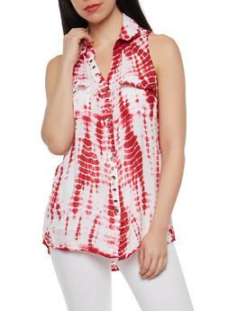 Tie Dye Sleeveless Button Front Top - 1002038349604