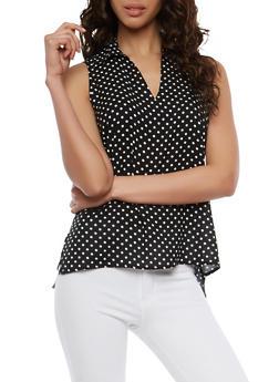 Polka Dot Keyhole Sleeveless Top - BLACK/WHITE - 1002038349644