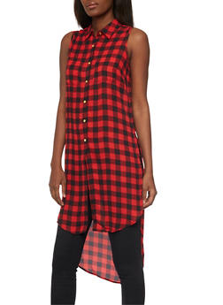 Sleeveless Printed Maxi Top with Side Slits - BUFFALO CHECK - 1002051068757