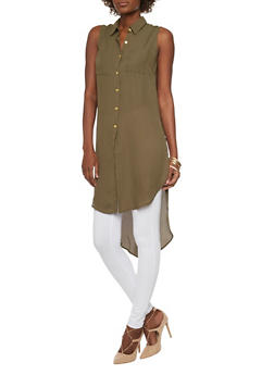 Solid Sleeveless Button Front Maxi Top - OLIVE - 1002051068758