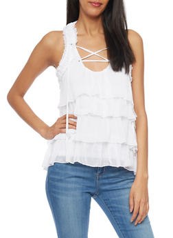 Sleeveless Lace Up Sheer Top with Ruffles - WHITE - 1002051069044