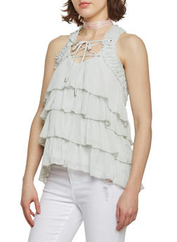 Sleeveless Lace Up Sheer Top with Ruffles - 1002051069044