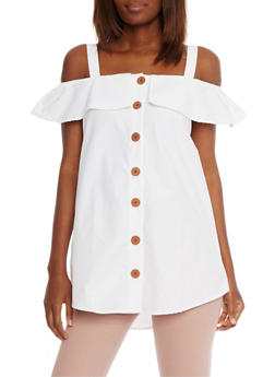 Ruffled Off The Shoulder Button Front Top - WHITE - 1002051069170