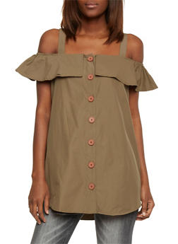 Ruffled Off The Shoulder Button Front Top - OLIVE - 1002051069170
