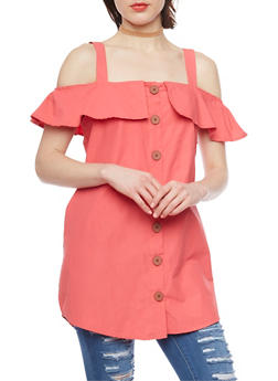 Ruffled Off The Shoulder Button Front Top - 1002051069170