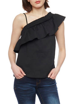 Smocked One Shoulder Top - 1002051069187