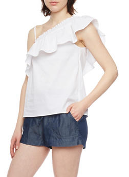 Smocked One Shoulder Top - WHITE - 1002051069187