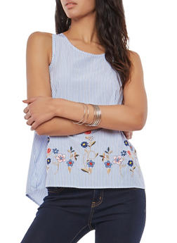 Embroidered Racerback Tank Top - 1002051069747