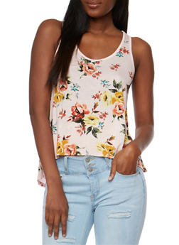 Printed Floral Tank Top with Crochet Back Yoke - 1002054261320