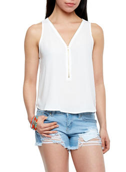Sleeveless Zip V Chiffon Tank Top - WHITE - 1002054266786
