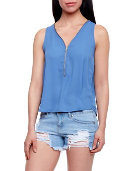 Sleeveless Zip V Chiffon Tank Top - 1002054266786