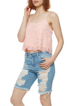 Lace Crop Top with Crochet Scallop Hem - 1002054267726
