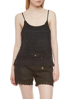 Crochet Tank Top with Cropped Underlay - 1002054268107