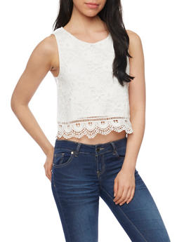 Lace Crop Top with Crochet Hem - OFF WHITE - 1002054268164