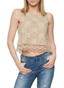 Lace Crop Top with Crochet Hem - 1002054268164