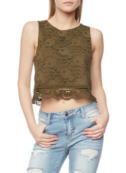 Lace Crop Top with Crochet Hem - OLIVE - 1002054268164