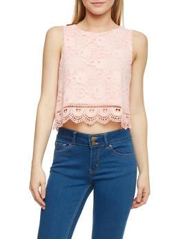 Lace Crop Top with Crochet Hem - 1002054268164