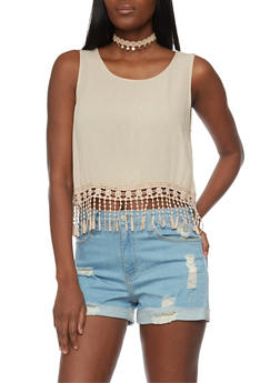 Gauze Knit Crochet Fringe Crop Top - 1002054268224